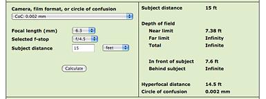 FE-26 Depth of Field Calculation